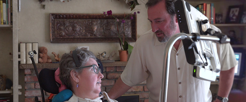 Woman With ALS with Communication Device