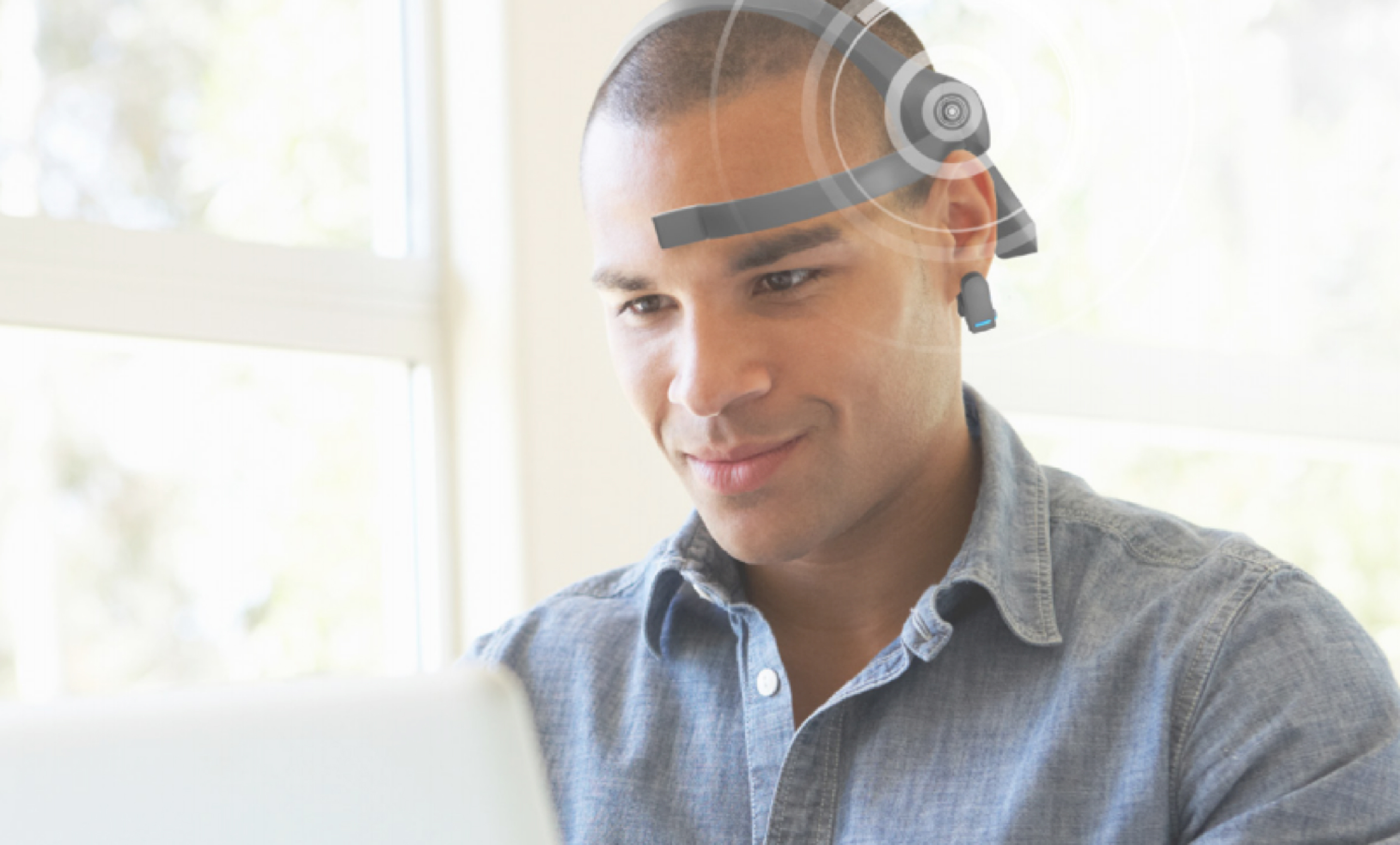 Man wearing EEG Headset